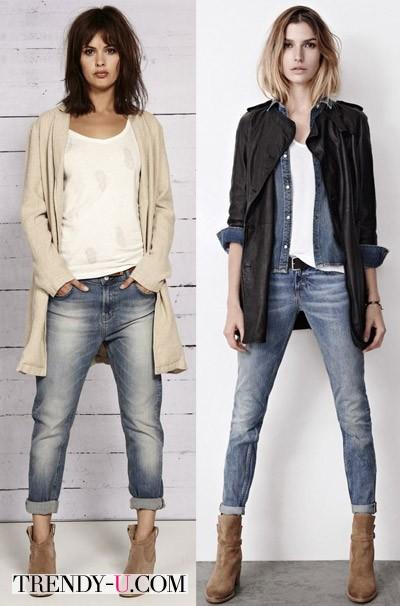 Бежевые ботинки и джинсы-бойфренды