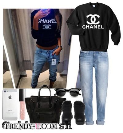Черные угги, черная толстовка и джинсы