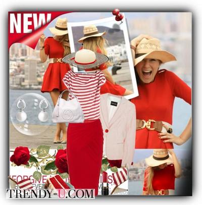 Красная юбка в сочетании с тельняшкой