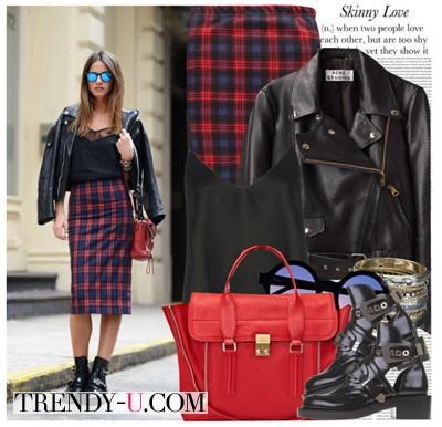 Клетчатая юбка красного цвета и куртка-косуха