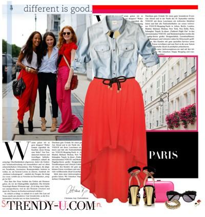 Красная юбка и джинсовая рубашка