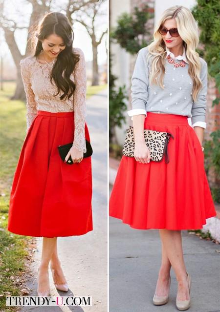Луки с красными пышными юбками