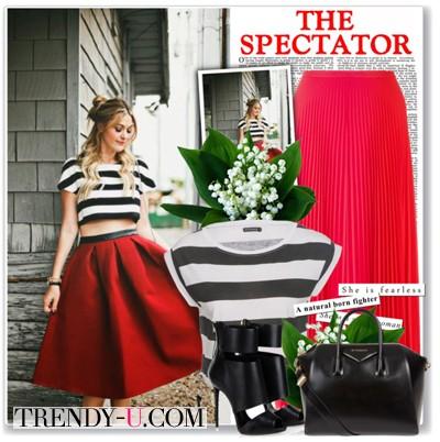 Красная пышная юбка и укороченный топ