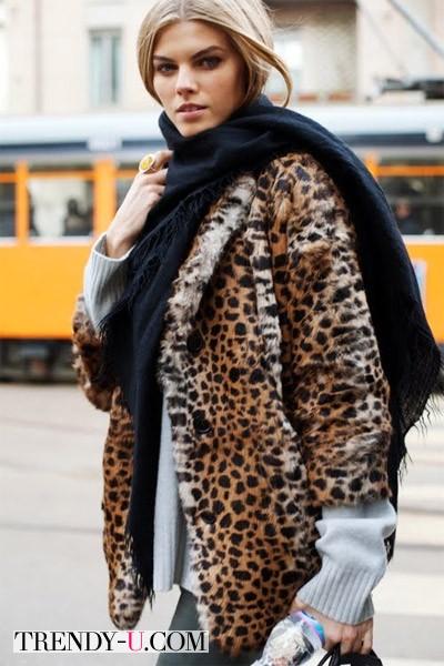 Леопардовая шуба и уличный стиль