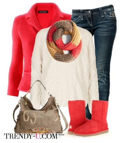 Красные угги, свитер, джинсы