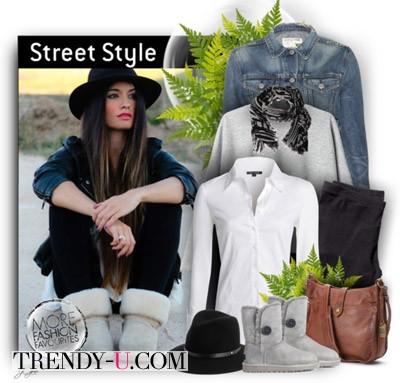 Серые угги и джинсовая рубашка или пиджак