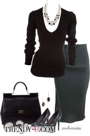 Серая юбка - черный свитер и украшение