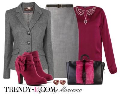 Образ с серой юбкой, пиджаком и сиреневой блузкой!