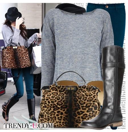 Серый свитер, джинсы и высокие сапоги. И, конечно, стильная сумка!
