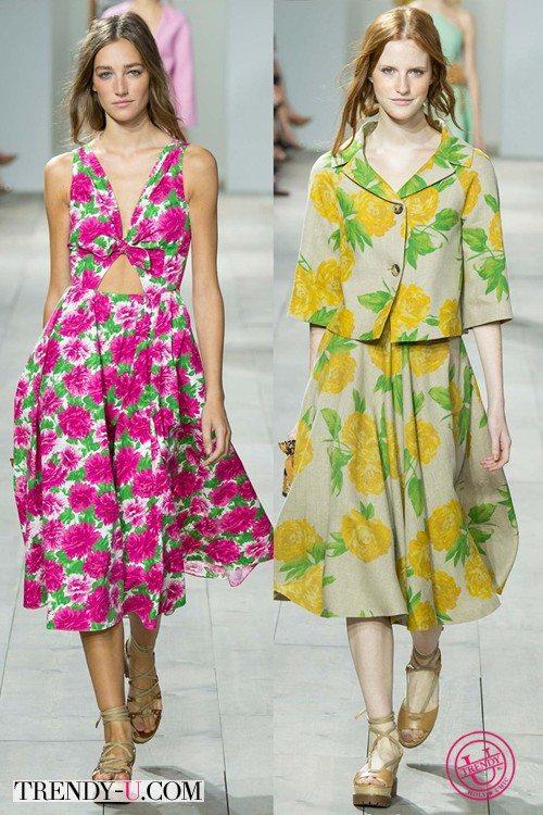 Летнее платье и костюм с цветочным принтом by Michael Kors SS 2015