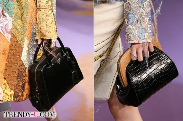 Черные кожаные сумки Prada - a small tote & clutch ss 2015