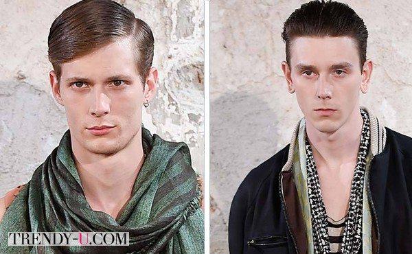Зачесанные назад и набриолиненные волосы на весенне-летних на показах мужской одежды 2015