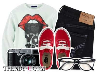 Свитшот с джинсами и кедами