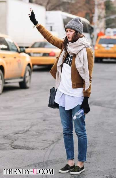 Свитшот, рубашка, куртка-бомбер, шапка и шарф