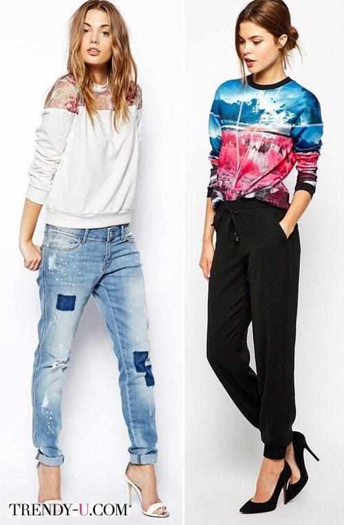 Свитшоты с джинсами и брюками на манжете