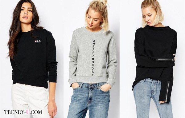 Черный или серый свитшот в сочетании с джинсами для образа в стиле casual