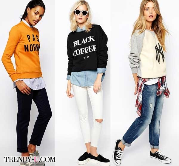 Свитшоты в сочетании с рубашкой и джинсами