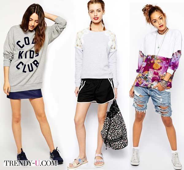 Девушки в свитшотах и шортах/короткой юбке