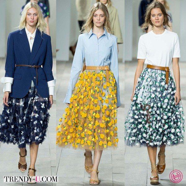 Модная одежда Michael Kors весна-лето 2015: пышные юбки