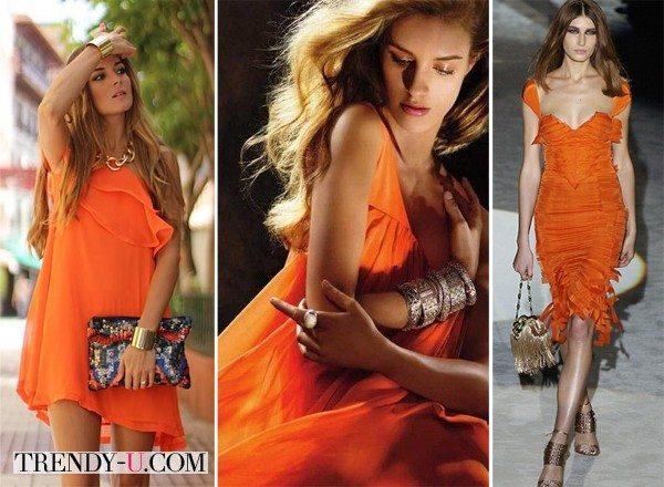 Украшения к оранжевому платью