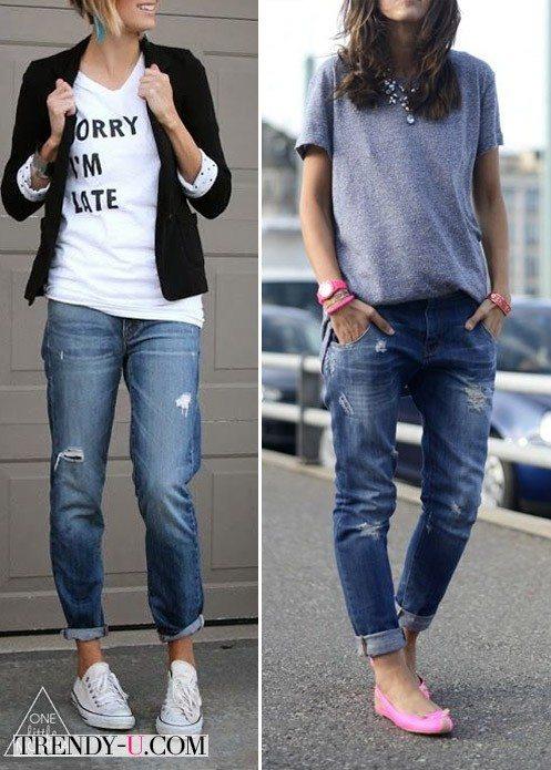 Вот так носить джинсы-бойфренды с футболкой!