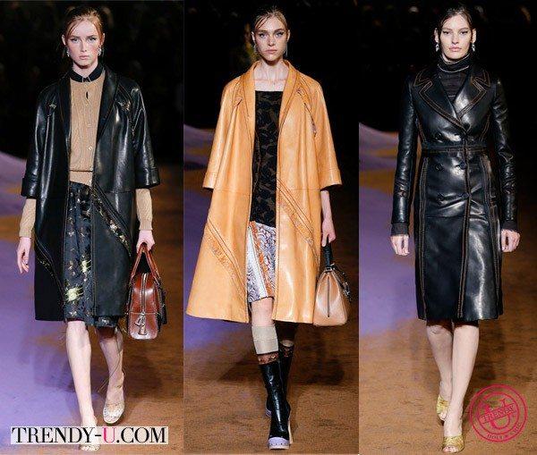 Кожаные плащи весна 2015 от Prada