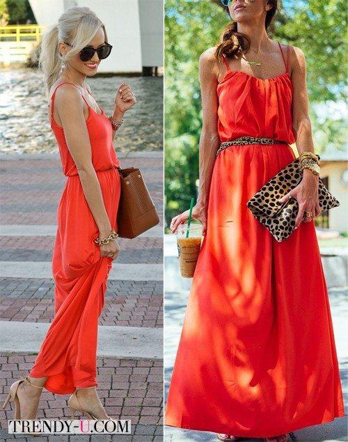 Луки с оранжевыми платьями, точнее, сарафанами