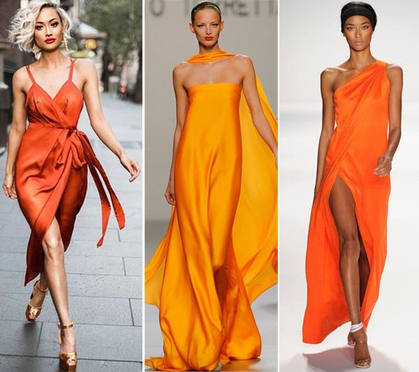 Макияж к платью оранжевому