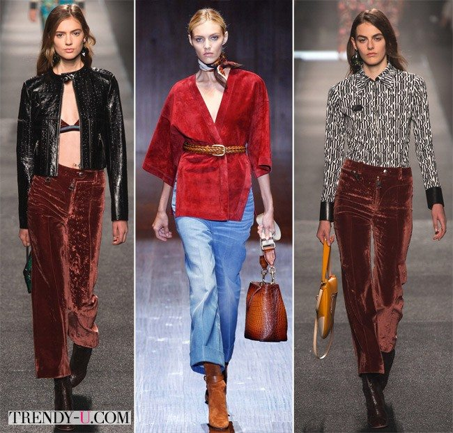 Стильная одежда цвета марсала из бархата и замши от Gucci (посередине) и Lanvin весна-лето 2015