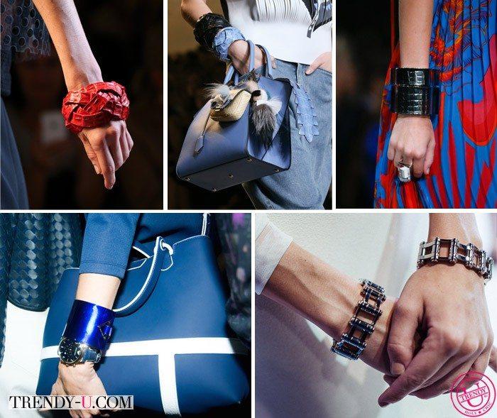 Кожаные, пластиковые и металлические браслеты весна-лето 2015