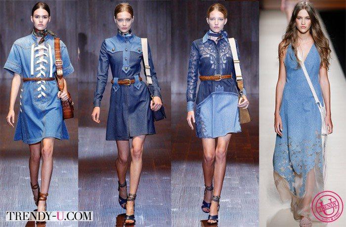 Джинсовые платья в стиле ретро 70-х Gucci и в стиле бохо Alberta Ferretti