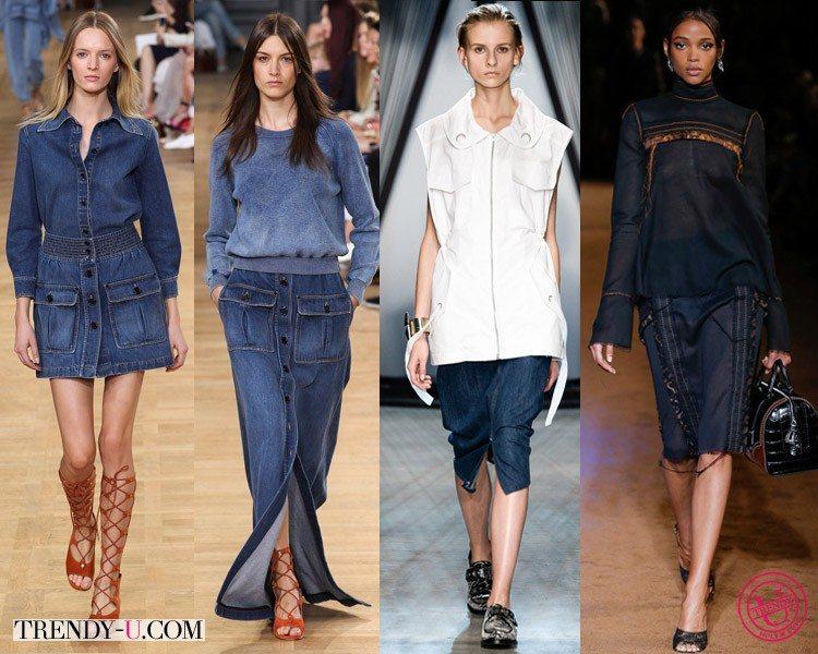 Модные джинсовые юбки весна-лето 2015 Chloé, Damir Doma и Prada