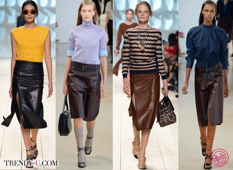 Стильные кожаные юбки от Nina Ricci и Jil Sander для весны и лета 2015