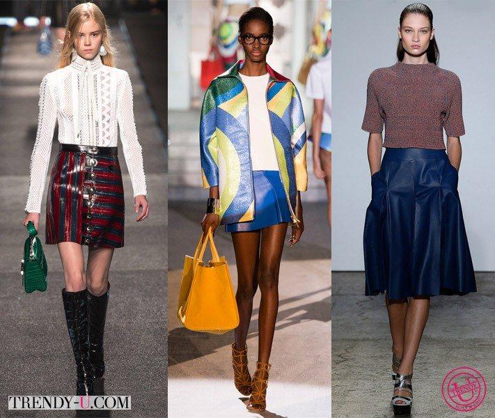 Модные кожаные юбки от Louis Vuitton, DSQUARED2 и ADEAM весна-лето 2015