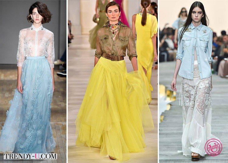 Модные юбки в пол из фатина и тюля от Jenny Packham и Roberto Cavalli SS 2015