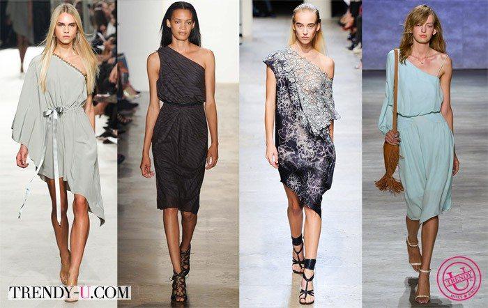 Модные платья на одно плечо весна-лето 2015 от Alexis Mabille, Leonard и Rebecca Minkoff