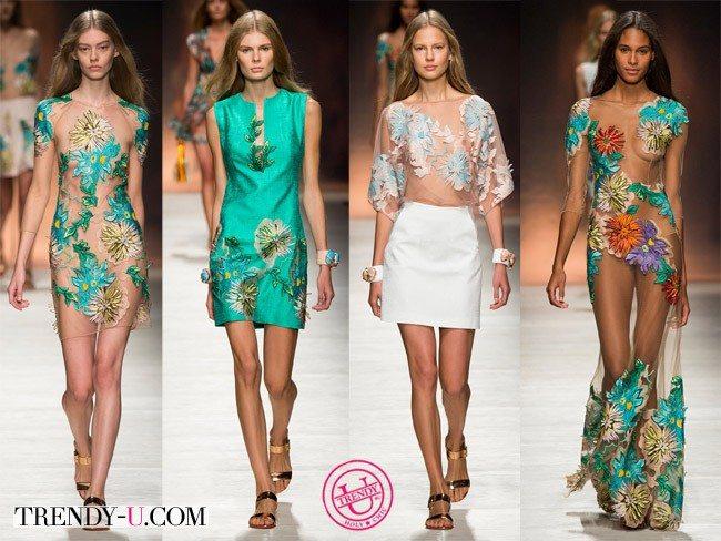 Платья с цветочным принтом-аппликацией от Blumarine весна-лето 2015
