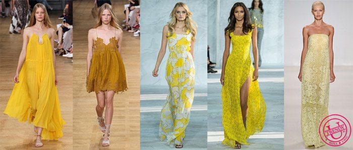 Модные сарафаны желтого цвета весна-лето 2015 от Chloe, Diane von Furstenberg и Erin Fetherston