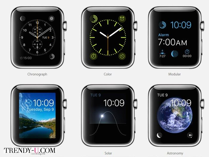Некоторые варианты циферблата iWatches by Apple 2015