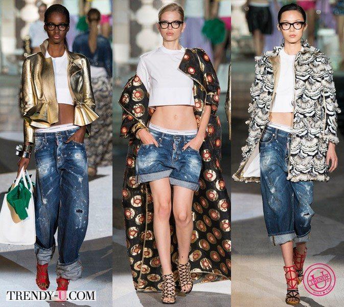 Стильные луки с джинсами и шортами от DSQUARED2 весна 2015