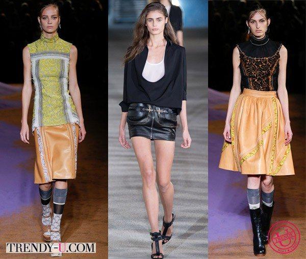 Модные замшевые юбки весна 2015 от Prada и Anthony Vaccarello