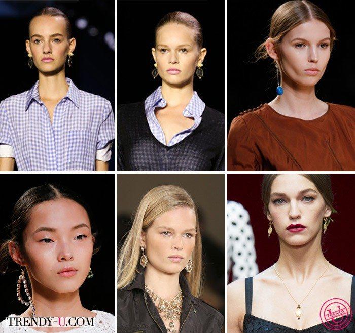 Вверху - серьги Altuzarra (2 пары) и Valentino, внизу - Nina Ricci, Ralph Lauren, Dolce & Gabbana весна-лето 2015