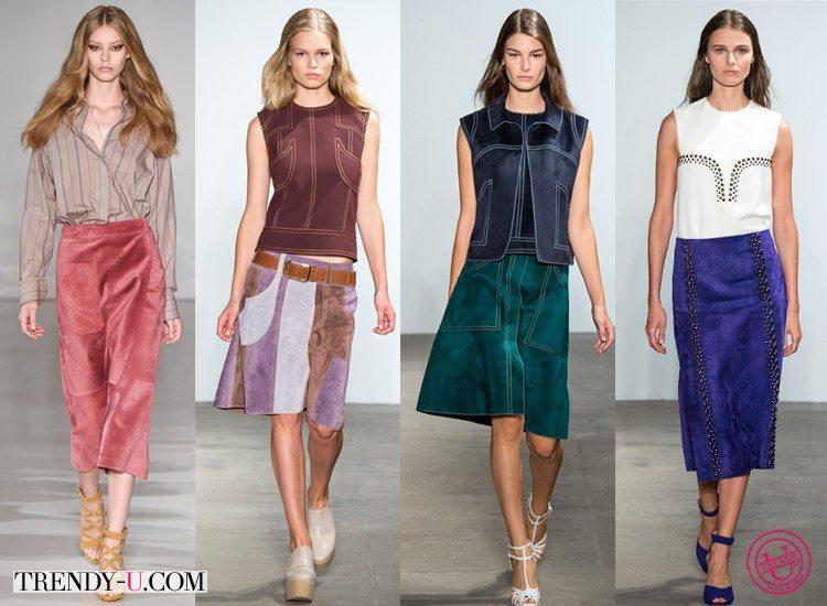 Модные замшевые юбки Jill Stuart и Derek Lam весна-лето 2015
