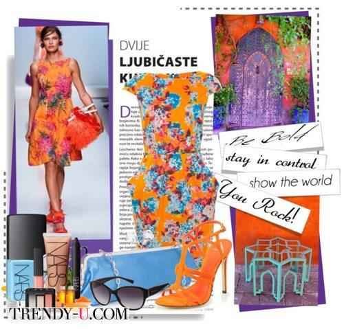 Оранжевое платье с цветочным принтом