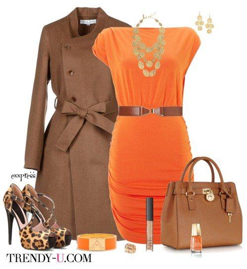 Оранжевое платье и коричневые аксессуары