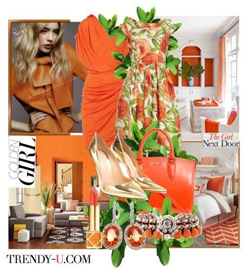Оранжевый + зеленый = стильный и яркий образ