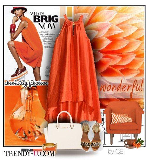 Оранжевое платье и аксессуары