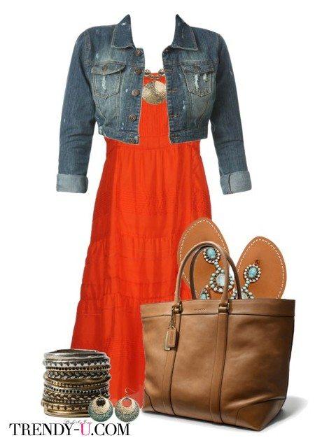 Оранжевое платье и джинсовый укороченный жакет