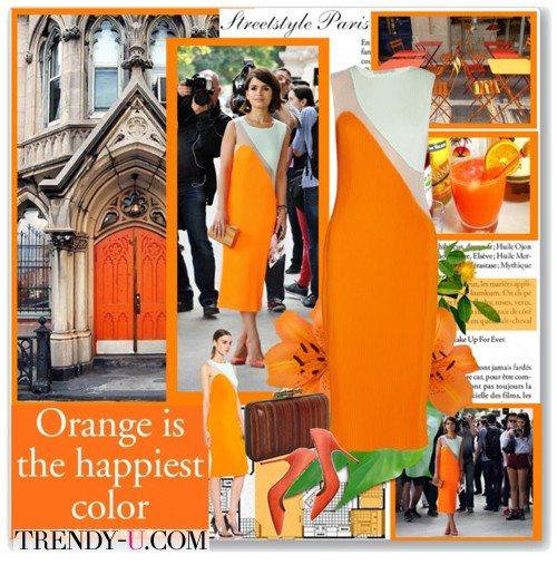 Мирослава Дума в оранжевом платье