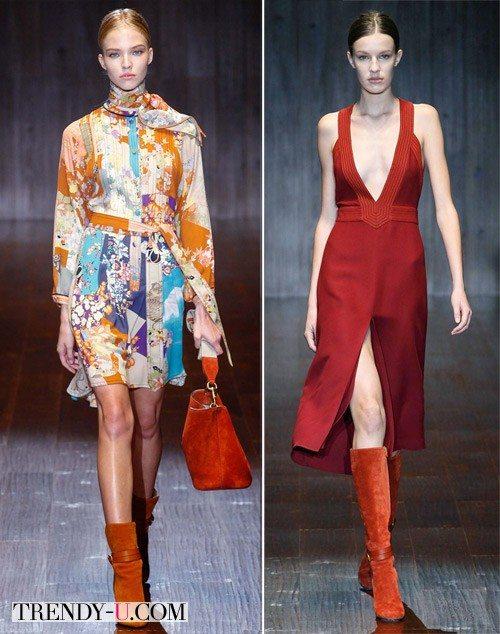 Платье без рукавов и аксессуары цвета марсала, Gucci SS 2015